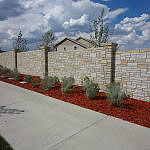 residential stone textured privacy wall
