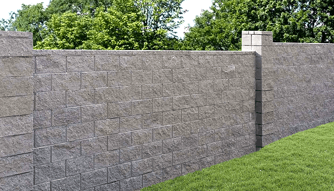 hand laid block fence