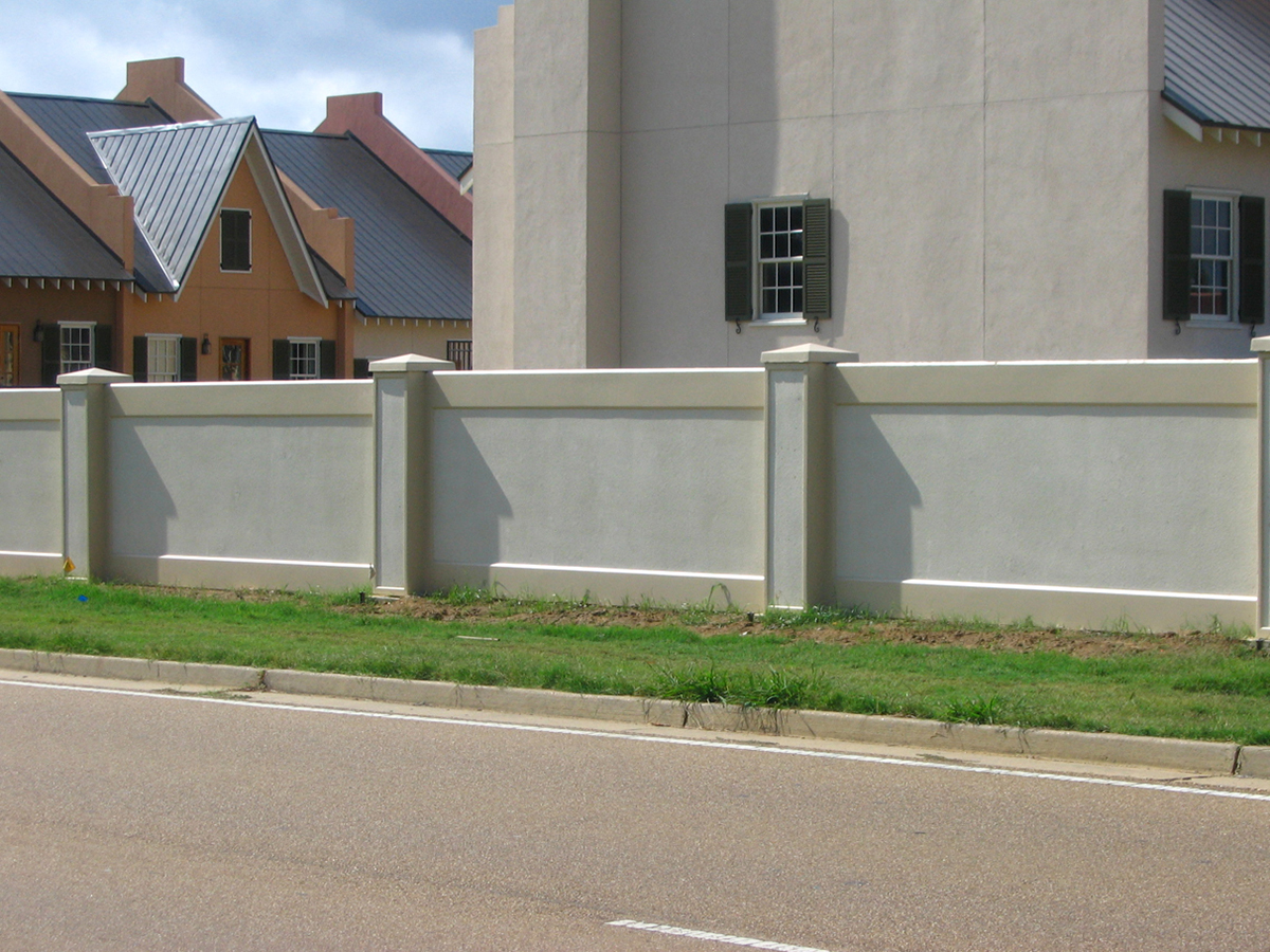 example of a stucco retaining wall