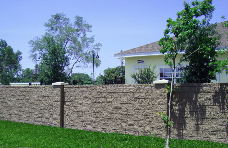 residential concrete wall with textured split face block