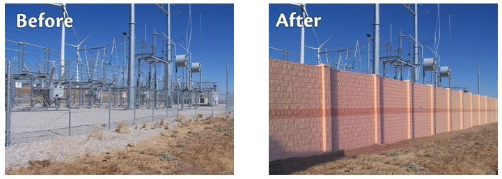 Power substation - before and after concrete wall installation